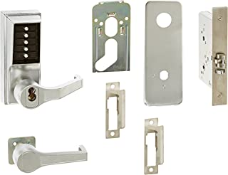 Kaba Simplex 8100 Series Metal Right Handed Mechanical Pushbutton Mortise Lock with Lever, Combination Entry, Key Override, Passage, Lockout, R/C Schlage, Core Not Included, Satin Chrome Finish
