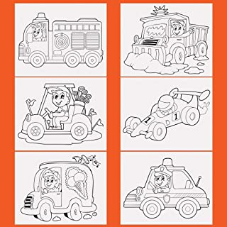 ETI Toys, 6 Canvas Set – 6 Cars and Trucks Themed Pre-Sketched Panels – 8x10 in Canvas for Painting with Stencil Drawings for Artist Kids +6yrs – Primed, 100 Percent Cotton & Acid Free Canvases
