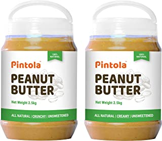 Pintola All Natural Peanut Butter (Crunchy) (2.5 kg) (Unsweetened, Non-GMO, Gluten Free, Vegan) + Pintola All Natural Pean...