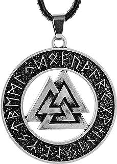 LANGHONG 1PCS Norse Vikings Pendant Necklace Norse Valknut Rune Pendant Necklace Original Amulet Pendant Necklace