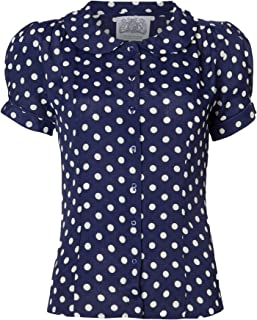 d3e3e05c3ae39 The Seamstress of Bloomsbury 1940's Authentic Vintage Inspired 'Jive'  Blouse in Navy Spot