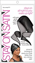 Stay On Satin Hair Wrap Tie Up Womens Head Scarf for Sleeping, Black