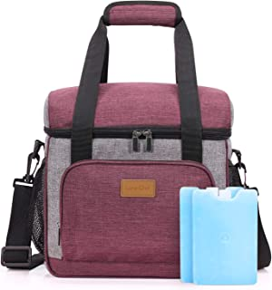 Lifewit Large Insulated Lunch Bag 24-Can Lunch Box, Cooler Bag with 2 Ice Packs, Soft-Sided Cooler Tote Bag, Wine