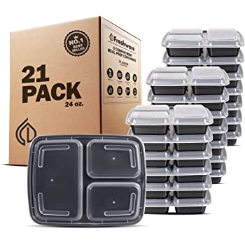 Freshware Meal Prep Containers [21 Pack] 3 Compartment with Lids, Food Storage Containers, Bento Box, BPA Free, Stackable, Microwave/Dishwasher/Freezer Safe (24 oz)