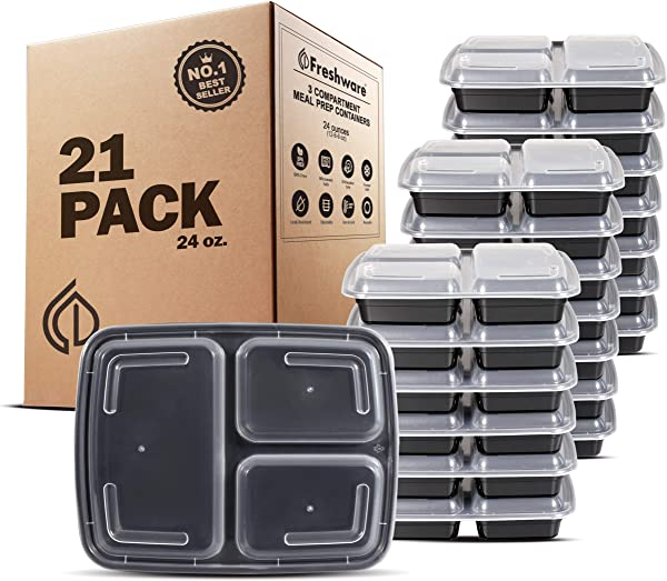 Freshware Meal Prep Containers 21 Pack 3 Compartment With Lids Food Storage Bento Box BPA Free Stackable Lunch Boxes Microwave Dishwasher Freezer Safe Portion Control 21 Day Fix 24 Oz