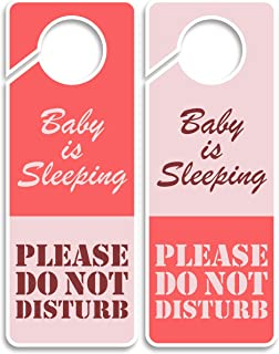 Baby is Sleeping-Do Not Disturb Sign, Door Hanger 2 Pack, Double Sided, Ideal for Any Kind of Door Knob