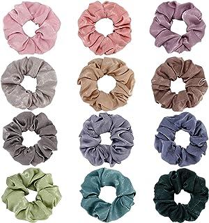 Folora 12Pcs Multicolored Hair Scrunchies Silk Elastic Hair Ties for Ponytail Holder Hair Bands for Women Girls Hair Acces...