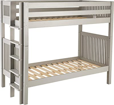 Camaflexi Bunk Bed Mission Headboard Bed End Ladder, Twin, Grey Finish