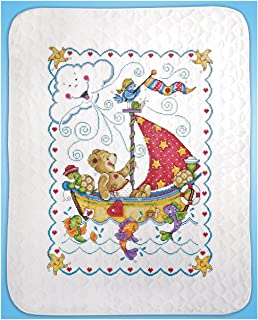Tobin T21770 Sail Away Baby Quilt Stamped Cross Stitch Kit