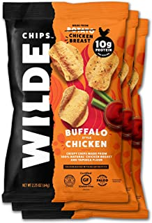 Buffalo Chicken Chips by Wilde Chips, Made with Real Chicken, 2.25oz Bag (3 Count), 3 Pack