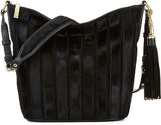 Michael Kors Brooklyn Applique Large Vertical Stripe Leather Feed Bag (Black)