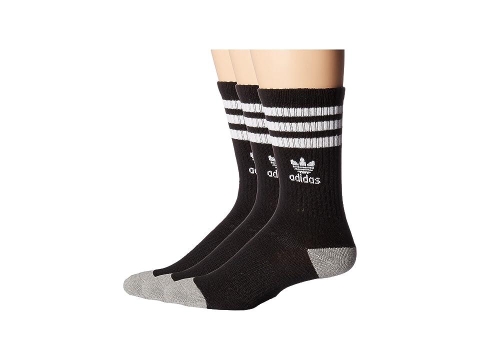 adidas Kids Originals Roller Crew 3-Pack (Little Kid/Big Kid) (Black/White/Black/White/Black/White) Kids Shoes