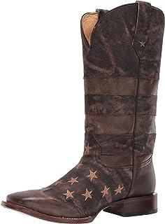 حذاء رجالي غربي من ROPER مطبوع عليه علم رجل العمل