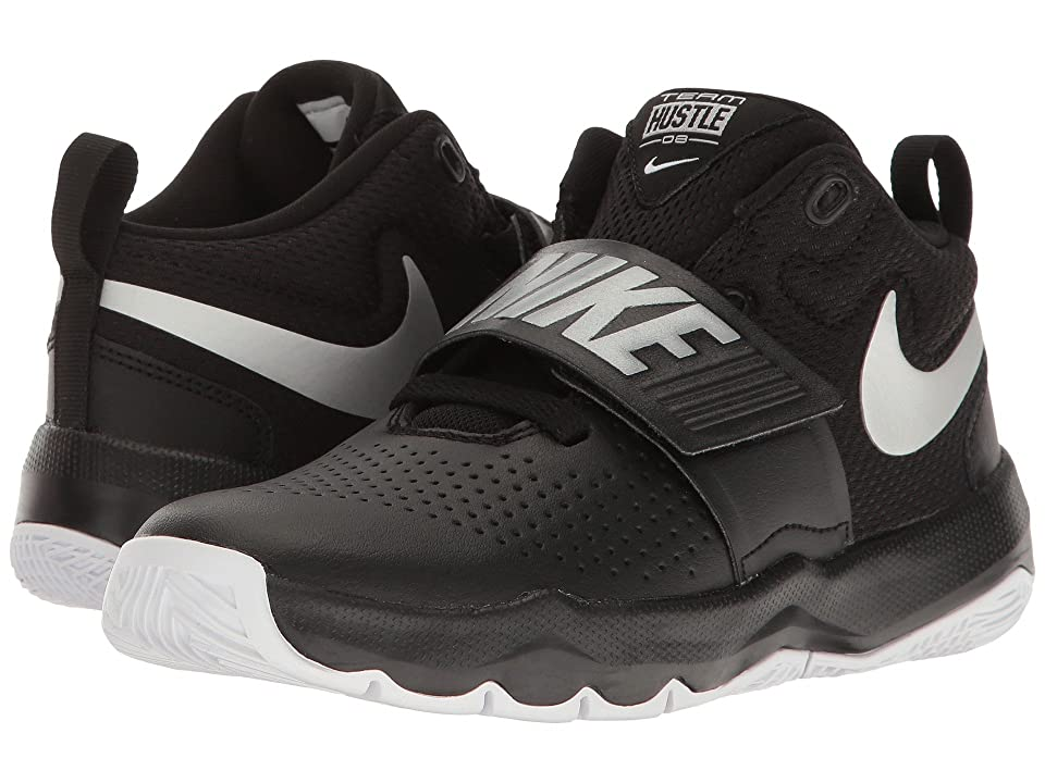 Nike Kids Team Hustle D8 (Little Kid) (Black/Metallic Silver/White) Boys Shoes