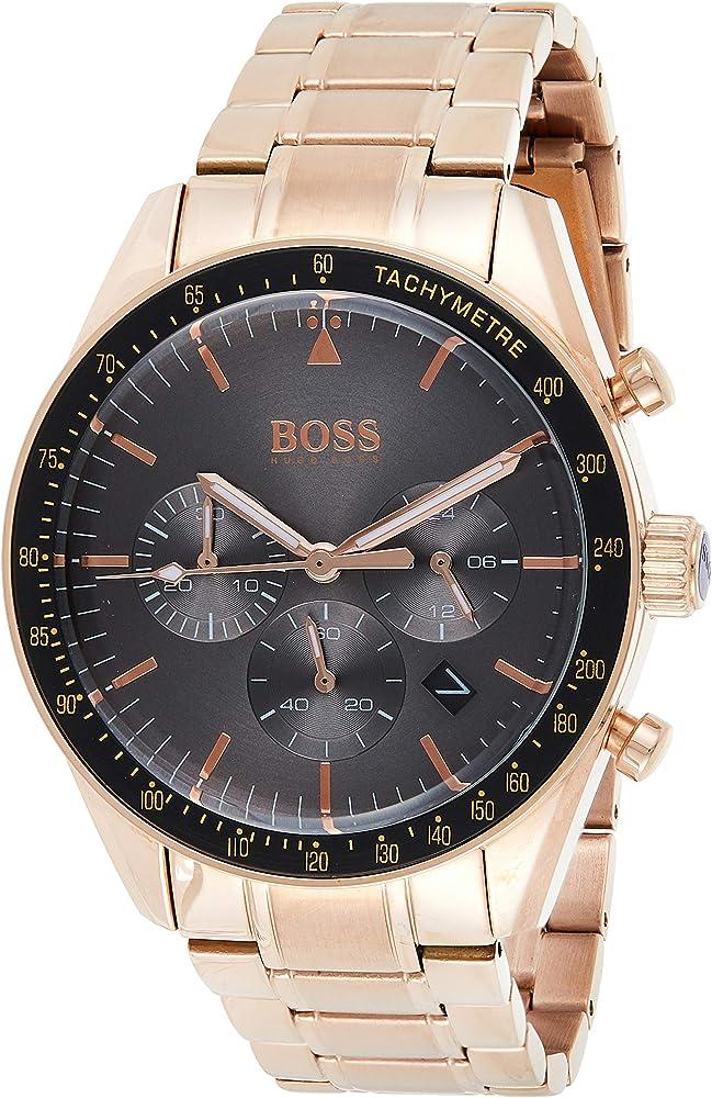 Hugo boss orologio cronografo uomo con cinturino in oro rosa 1513632