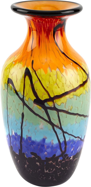 Badash Murano Style Mouth Blown Art Glass Allura 10.5  Multicolor Vase By