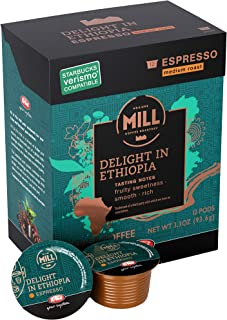 Mr and Mrs Mill Espresso Medium Roast Verismo Compatible Delight in Ethiopia Single Serve Coffee Pods 72 Count (6 boxes of 12 Pods each)