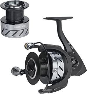 RUNCL Spinning Reel Grim I, Fishing Reel 2000-6000 Series 10+1 Stainless Steel Sealed Ball Bearings Max 5.5:1 Gear Ratio with Spare Aluminum Alloy Spool for Freshwater Saltwater Boat Fishing (Black)