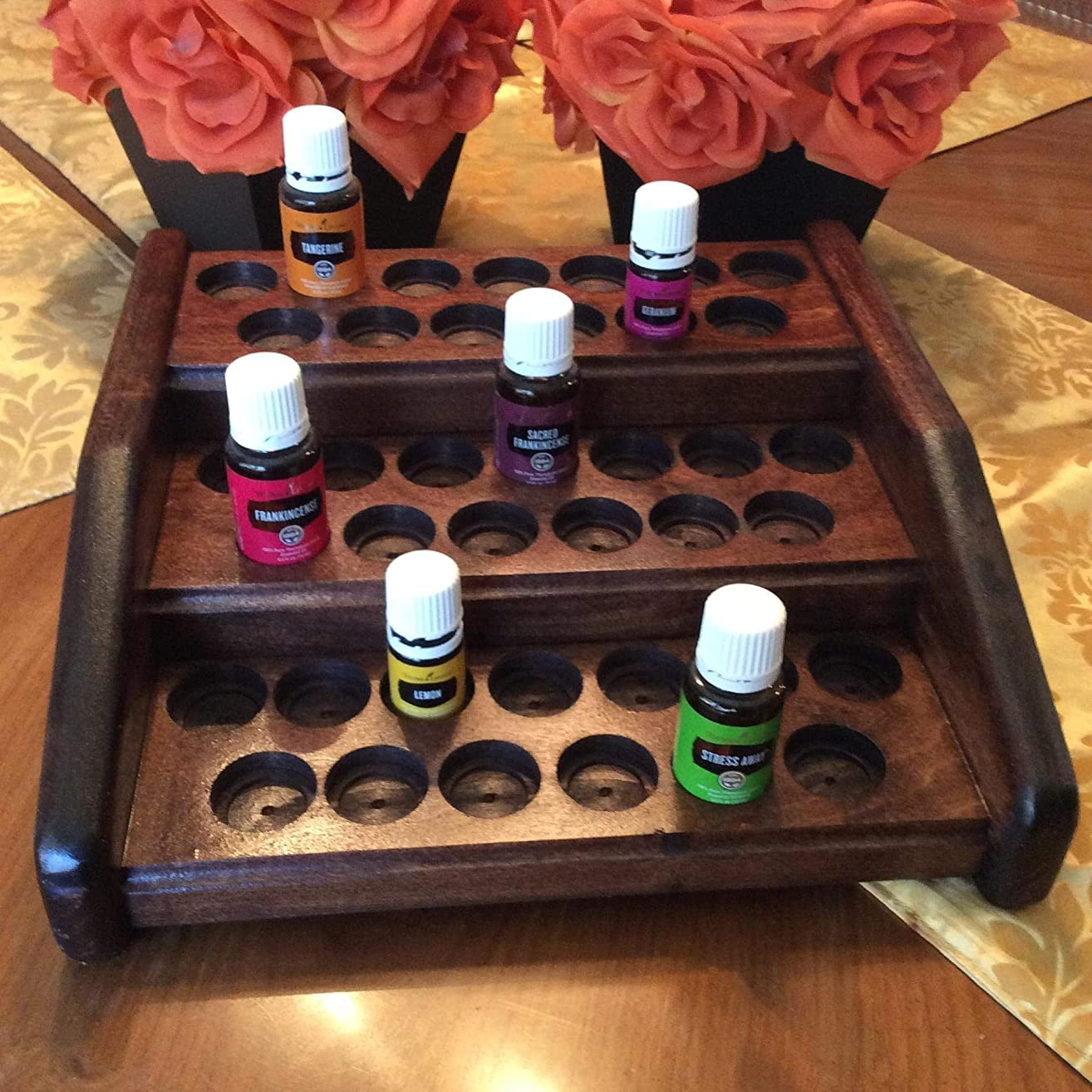 Essential oil rack/EO holder/oil display, 39 bottle storage for essential oils, wood 3 tier display stand, perfect organizer for your essential oil collection! 4 colors available!