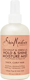 SheaMoisture Hold and Shine Moisture Mist for Thick, Curly Hair Coconut and Hibiscus for Frizz Control 8 fl. oz.