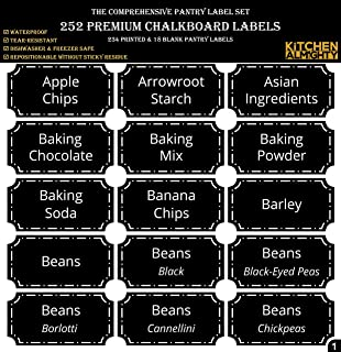"""252 Preprinted 3"""" X 1.5"""" Chalkboard Pantry Labels Set w/Extra Write-on Stickers for Jars, Bottles, Containers & Canisters - Include an Exclusive Numbered Reference sheet - Waterproof & Tear-Resistant"""