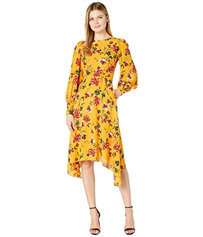 Donna Morgan Long Sleeve Georgette Fit-and-Flare with Asymmetrical Hem Dress (Marigold Multi) Women