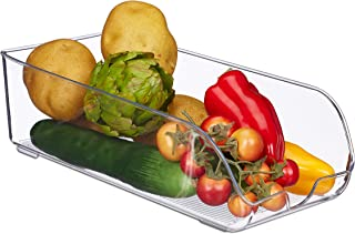 Relaxdays 10028687 Rangement frigo, Organisateur Cuisine, Aliments, HLP 10 x 16 x 35 cm, boîte avec poignée, bac, Transpar...