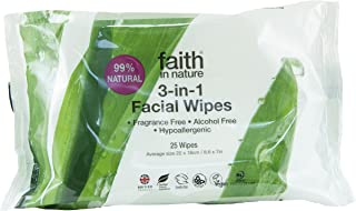 Faith In Nature 3 In 1 Facial Wipes Naturally Gentle Cleanse & Moisturise 25 Wipes
