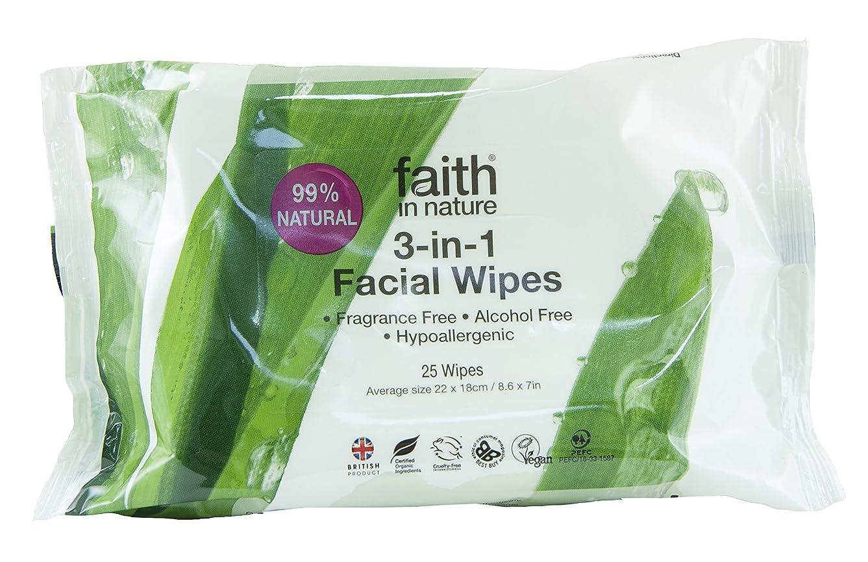 道極めて重要な不健康Faith In Nature 3 In 1 Facial Wipes Naturally Gentle Cleanse & Moisturise 25 Wipes