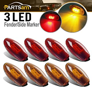 Partsam 8Pcs Led Side Fender Bed Marker LED Lights Replacement for GMC Sierra and Chevy Silverado 1999-2013 3500/ 3500HD Dually Model (4Amber+4Red)