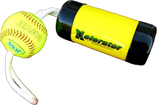 The Ultimate Xelerator Fastpitch Softball Pitching Trainer and Warm Up Tool with 12 Inch Premium Leather Indoor Ball for Improved Grip