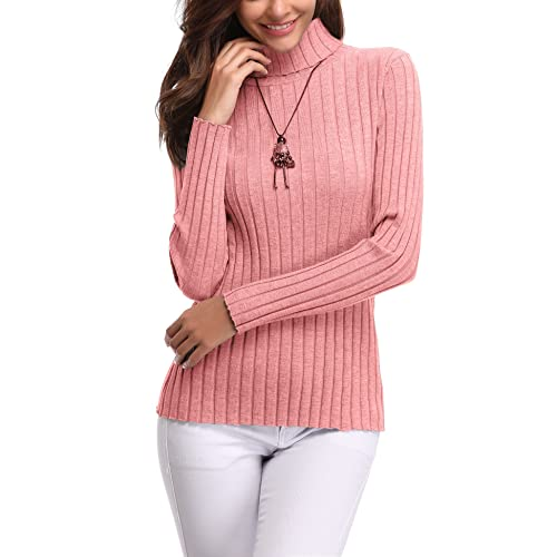 923d799a117283 Abollria Womens Turtle Neck Long Sleeve Chunky Knit Ribbed Sweater Jumper  Knitwear Top