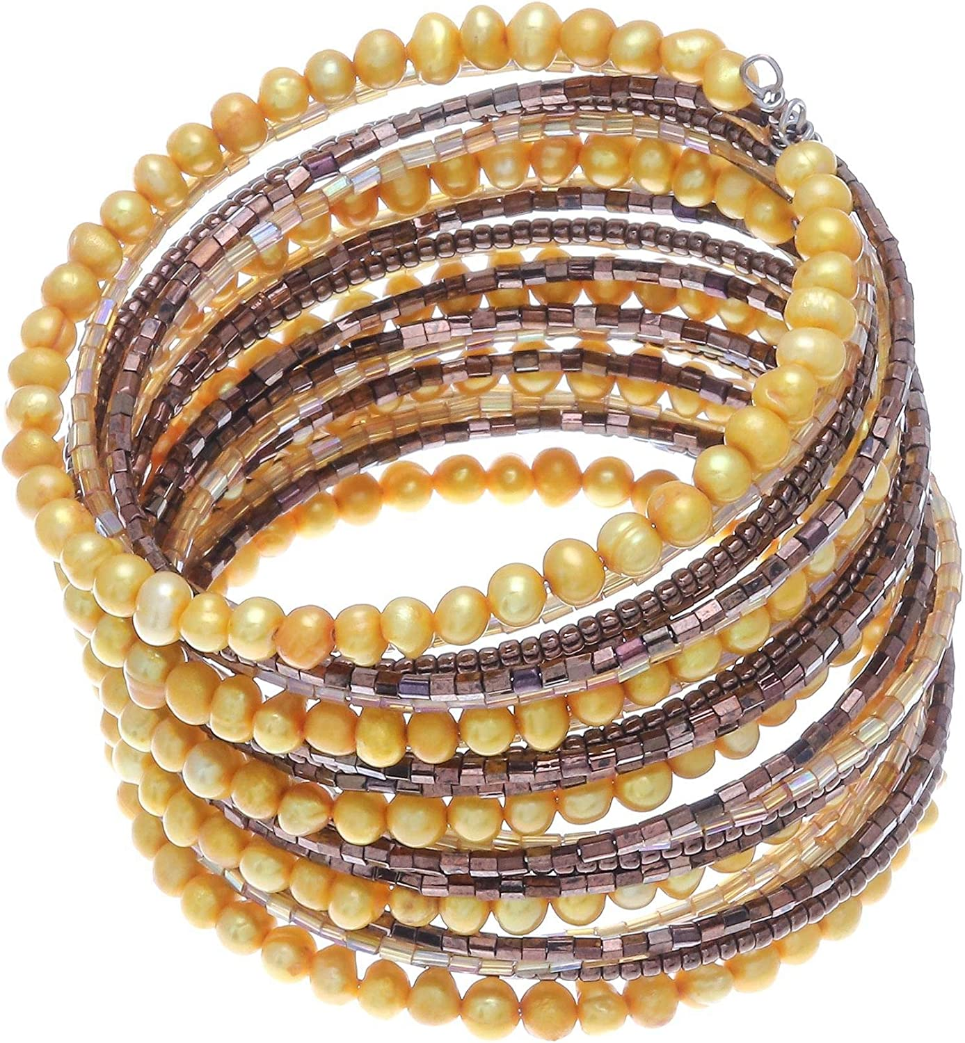 NOVICA Glass Bead Cultured Freshwater Pearl Stainless Steel Cuff Bracelet, Golden Luxuries'