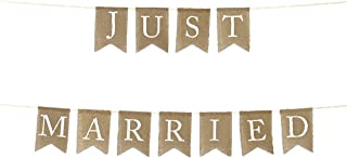 Andaz Press Real Burlap Fabric Pennant Hanging Banner Just Married, Pre-Strung, No Assembly Required, 1-Set