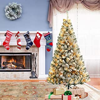 ANOTHERME 7ft Pre-Lit Flocked Christmas Snow Tree with 300 UL Certified Warm White Light Holiday Decor Indoor Outdoor