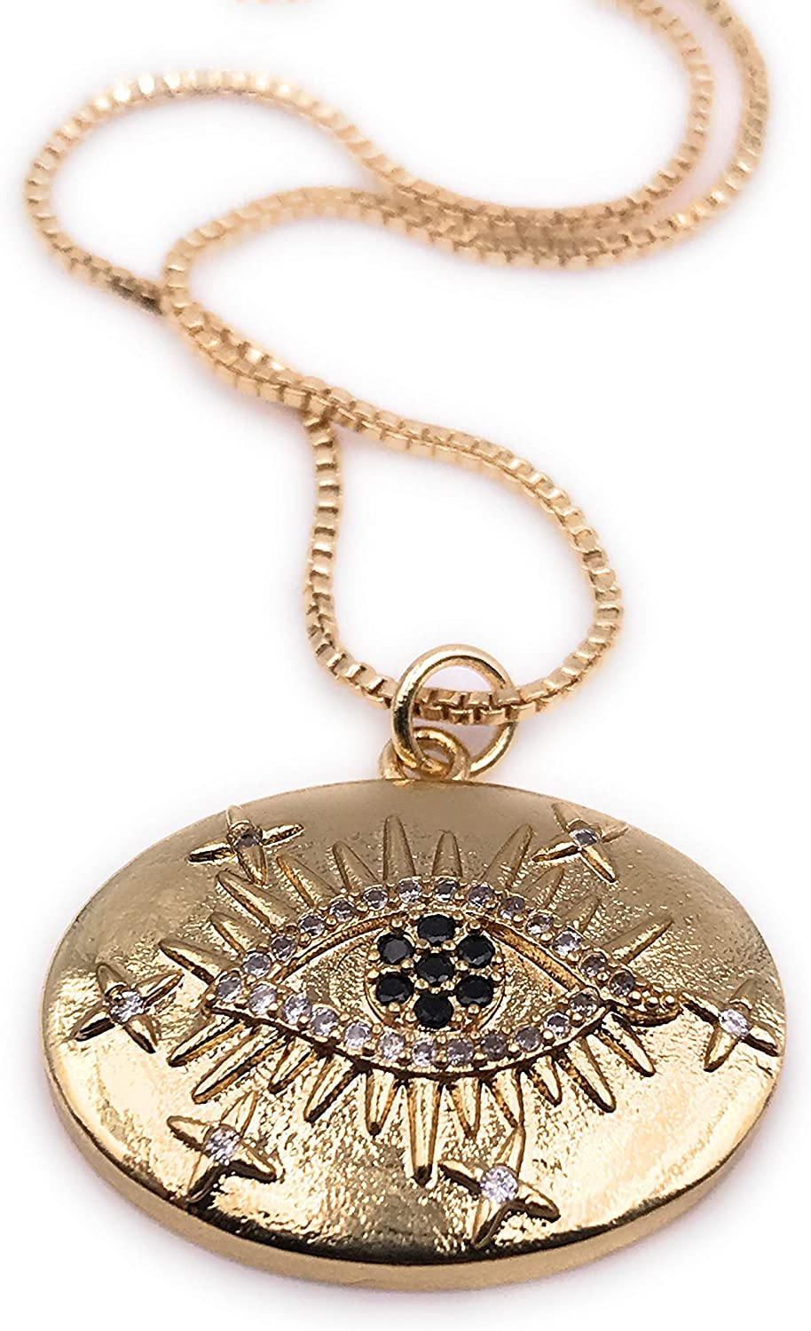 LESLIE BOULES Evil Eye Pendant Necklace 18 Inches Length Fashion Jewelry 18K Gold Plated Chain