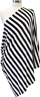 Itzy Ritzy Breastfeeding Cover and Infinity Nursing Scarf – Nursing Cover Can Be Worn as a Scarf and Provides Full Coverage While Nursing Baby, Black and White Stripe