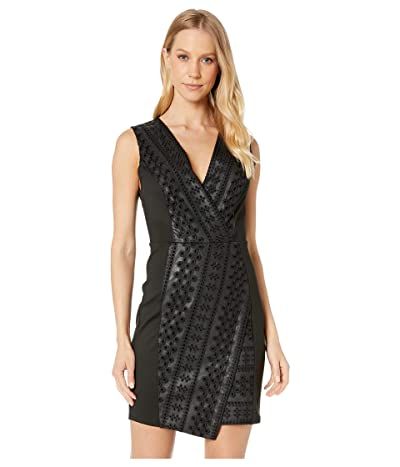 BCBGMAXAZRIA Faux Leather Embroidered Dress (Black) Women