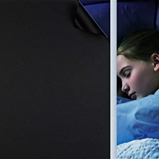 遮光シート 真っ黒 HooTown 窓用フィルム 超遮光 完全目隠し 光漏れ激減 UVを96%カット 貼り直し可能 日除け 防犯 飛散防止 水で貼れる ブラック 45*200cm