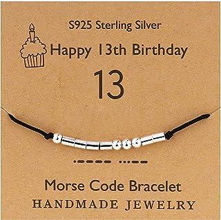 YooAi Bracciale codice Morse Regali di Buon Compleanno per Ragazze Ragazzi Bracciale in Argento Gioielli Regalo di Complea...