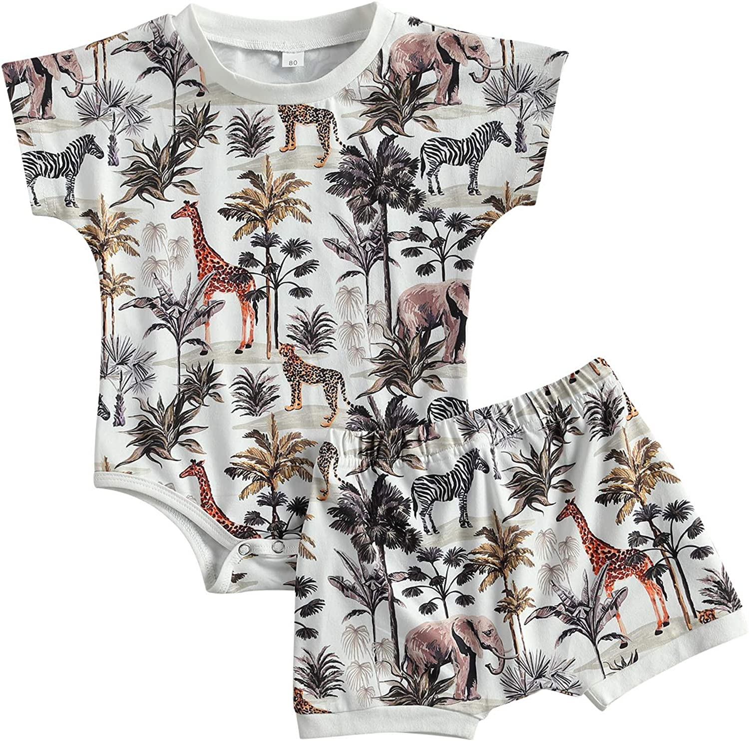 Baby Toddler Boy Summer Outfits Short Sleeve Romper Palm Tree Animal Print Bodysuit and Shorts 2Pcs Clothes Set