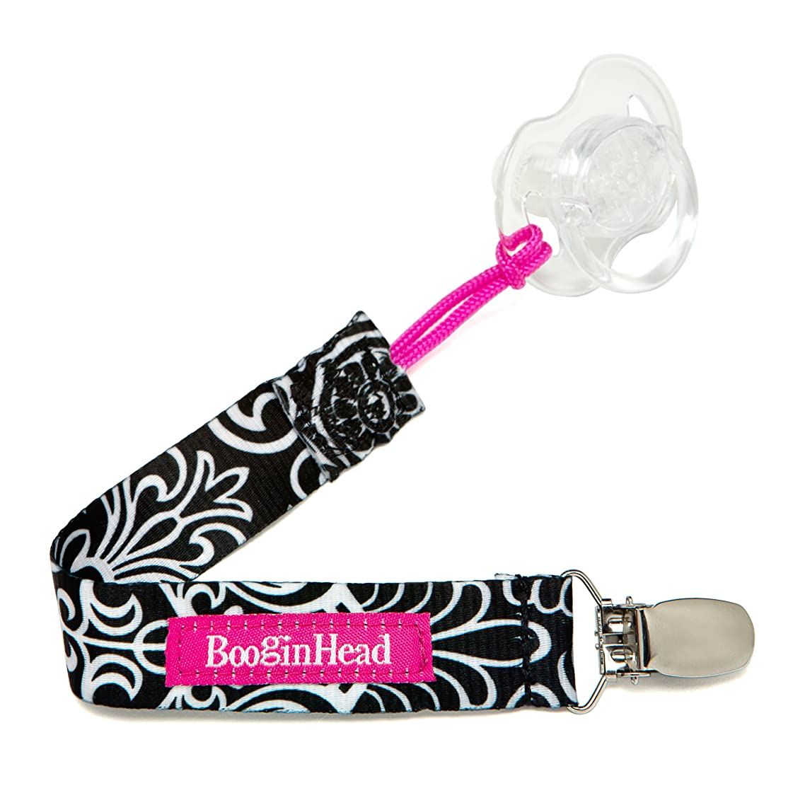 BooginHead Baby Newborn PaciGrip Pacifier Clip, Holder, Toy, Teether, Soothie, Universal Loop Girl, Black Flourish, Black and Pink