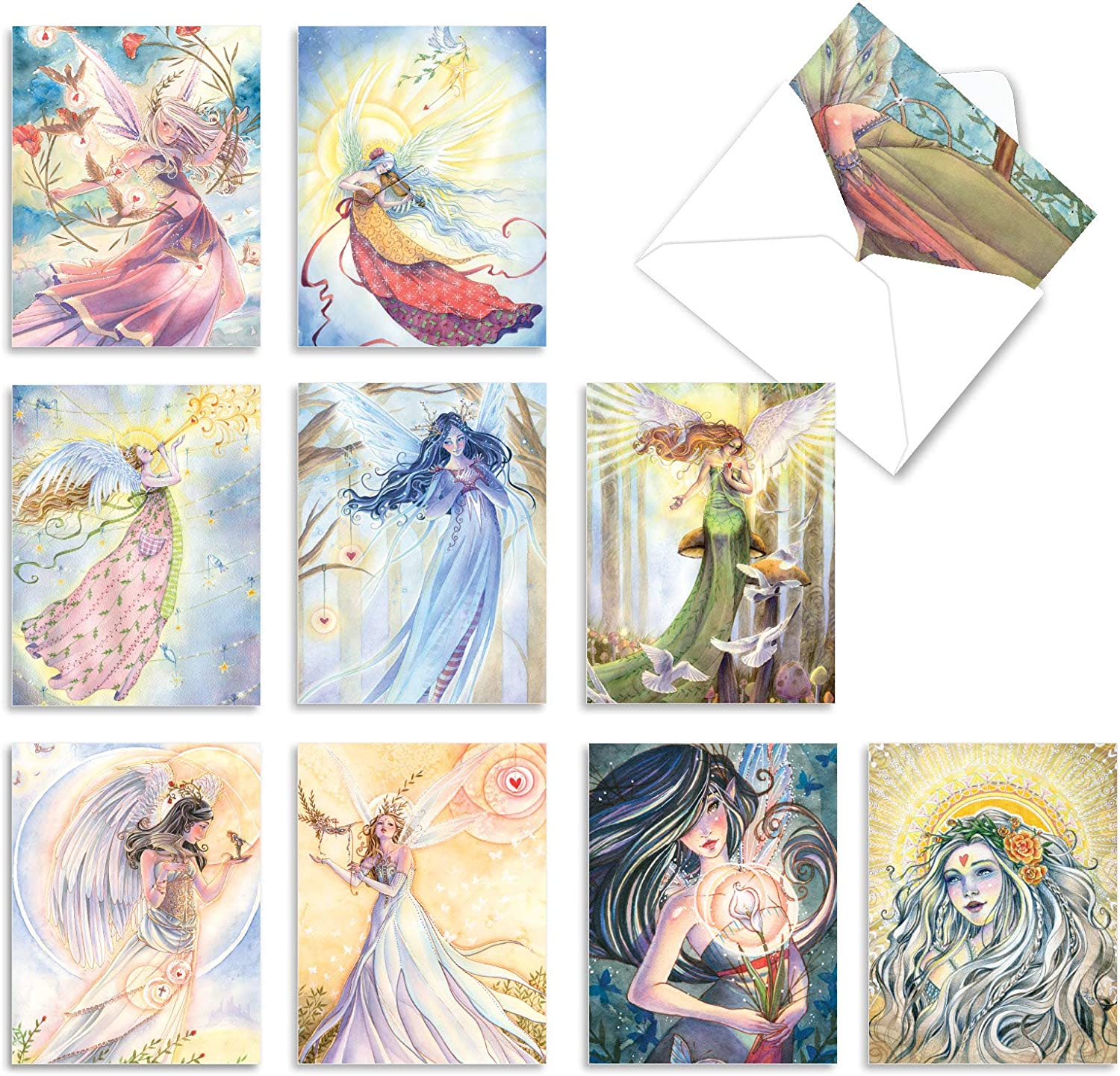 Winged Women' Boxed Set of 10 Thank You Cards with Envelopes and a Reusable Box, Fairy and Angel Mini Thank You Notes 4 x 5.12 inch, Fairies and Angels Gratitude Greeting Cards M2970