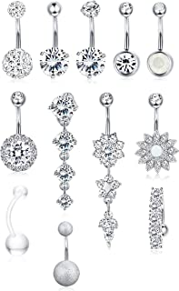 LOLIAS 12 Pcs 14G Dangle Belly Button Rings for Women Girls 316L Surgical Steel Curved Navel Barbell Body Jewelry Piercing