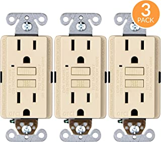 Faith Electric 15A GFCI Outlets Slim, Non-Tamper-Resistant GFI Duplex Receptacles with LED Indicator, Self-Test Ground Fault Circuit Interrupter, ETL Listed, 3-Pack, Ivory, 3 Piece
