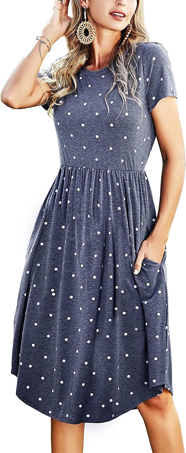 Simier Fariry Womens Summer Casual Swing Midi Dress with Pockets