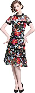 Womens Short Sleeve Floral Embroidered Sheer Mesh Midi Dress
