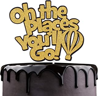 Oh The Places You'll Go Cake Topper - Inspirational Quotes Rhyme - Kids School Days Bon Voyage - Child Birthday Hot Air Balloon Cake Décor - Graduation Party Decoration
