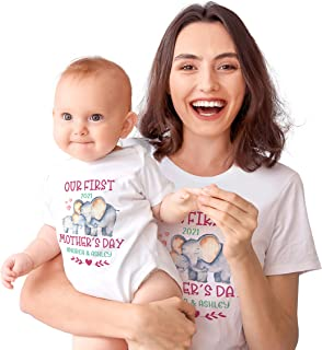 Personalized Mother's Day Matching Tee Gift for Mom and Baby - Custom Outfit Tshirt and Onesie for Mommy, Toddler - Custom...