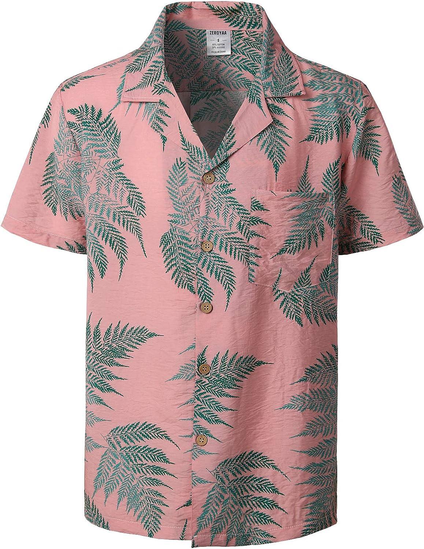ZEROYAA Men's Standard Fit Short Sleeve Tropical Hawaiian Shirts